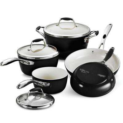 Gourmet Ceramica Deluxe 8-Piece Metallic Black Cookware Set with Lids