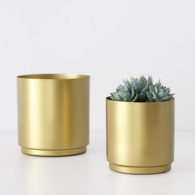 5 in. and 6 in. Brass Finished Metal Planter Set (5 in. and 6 in. Set, 8 in., or 10 in.)