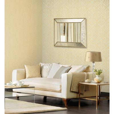 Sumatra Gold Ikat Damask Wallpaper