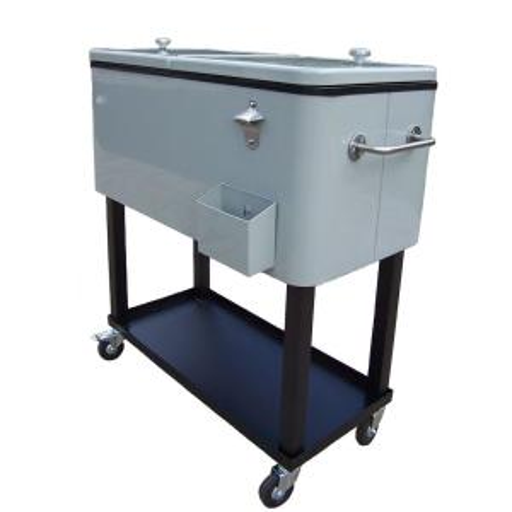 Oakland Living 80 Qt. Steel Metallic Silver Patio Cooler Cart by Oakland Living