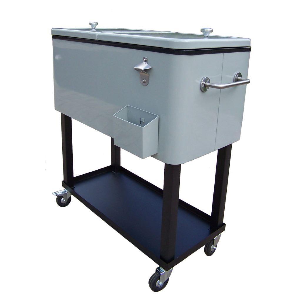 Steel Metallic Silver Patio Cooler Cart