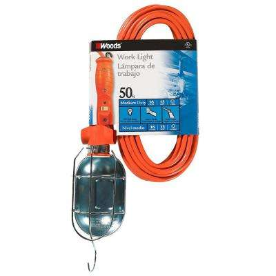 PVC Work Light with Outlet and Metal Guard, 16/3 SJTW, Orange, 75-Watt, 50 ft.