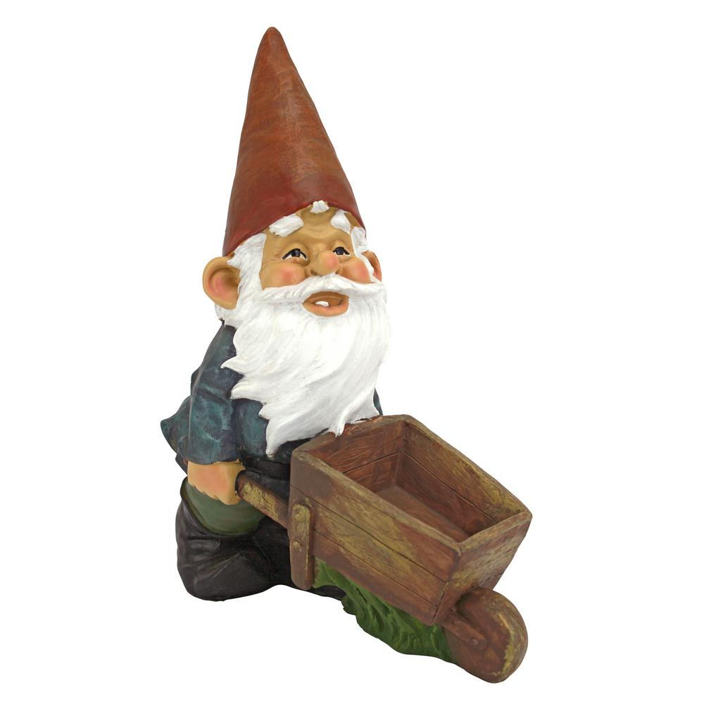 Design Toscano 12 in. H Wheelbarrow Willie Garden Gnome Statue-QM2433000 -  The Home Depot