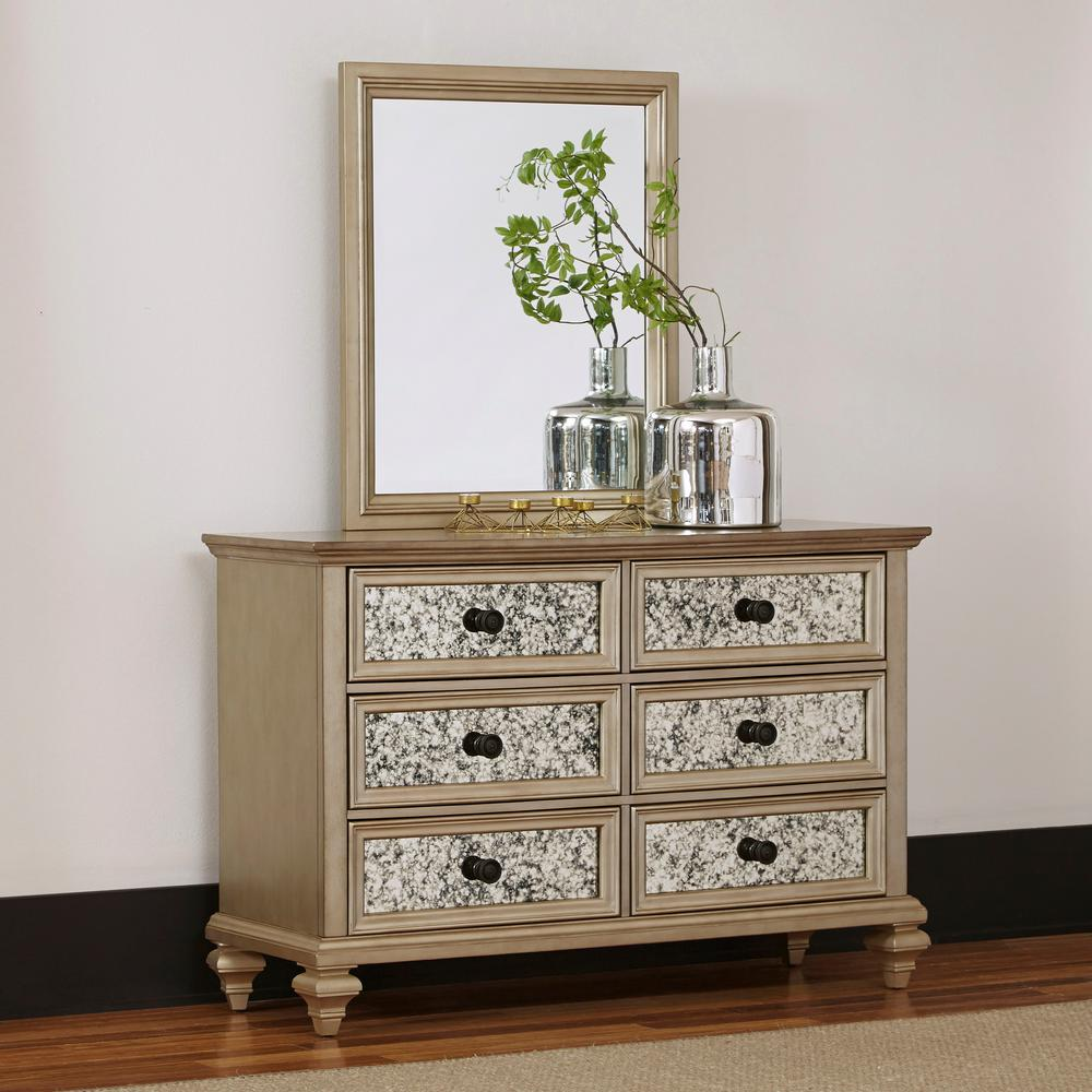 Home Styles Visions 6 Drawer Silver Gold Champagne Finish Dresser With Mirror 5576 74 The Depot