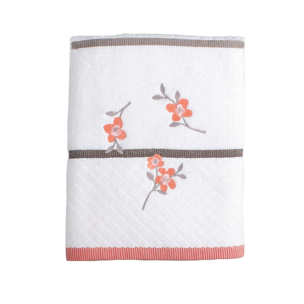 Saturday Knight Coral Garden Floral Cotton Bath Towel in ...