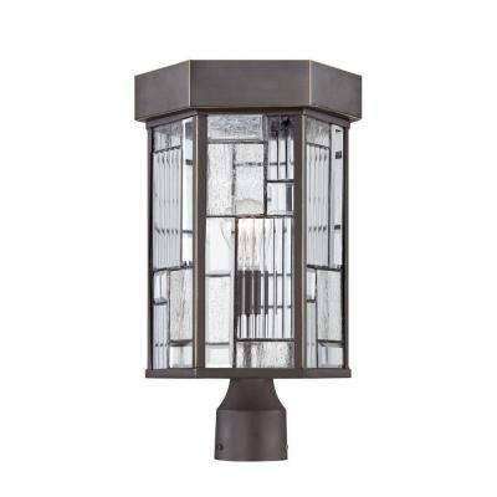 Kingsley 1-Light Aged Bronze Patina Outdoor Incandescent Post Lantern