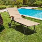 Folding Back Adjustable Aluminum Rattan Patio Outdoor Lounge Chair without Cushion Recliner with Wheels in Brown