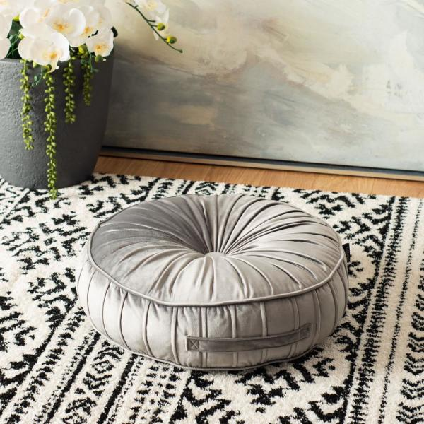 Clary 18 in. x 18 in. Polyfill Light Gray Round Floor Pillow