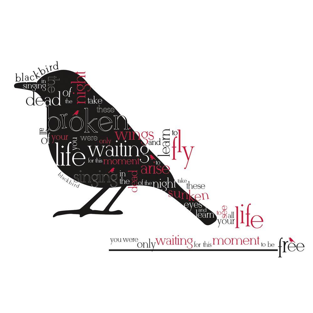 null 27 in. x 40 in. Blackbird Beatles Quote 8-Piece Peel and Stick Wall Decals-DISCONTINUED