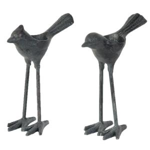 7.5 inch Cast Iron Bird Decorative Sculpture (2-Pack) by