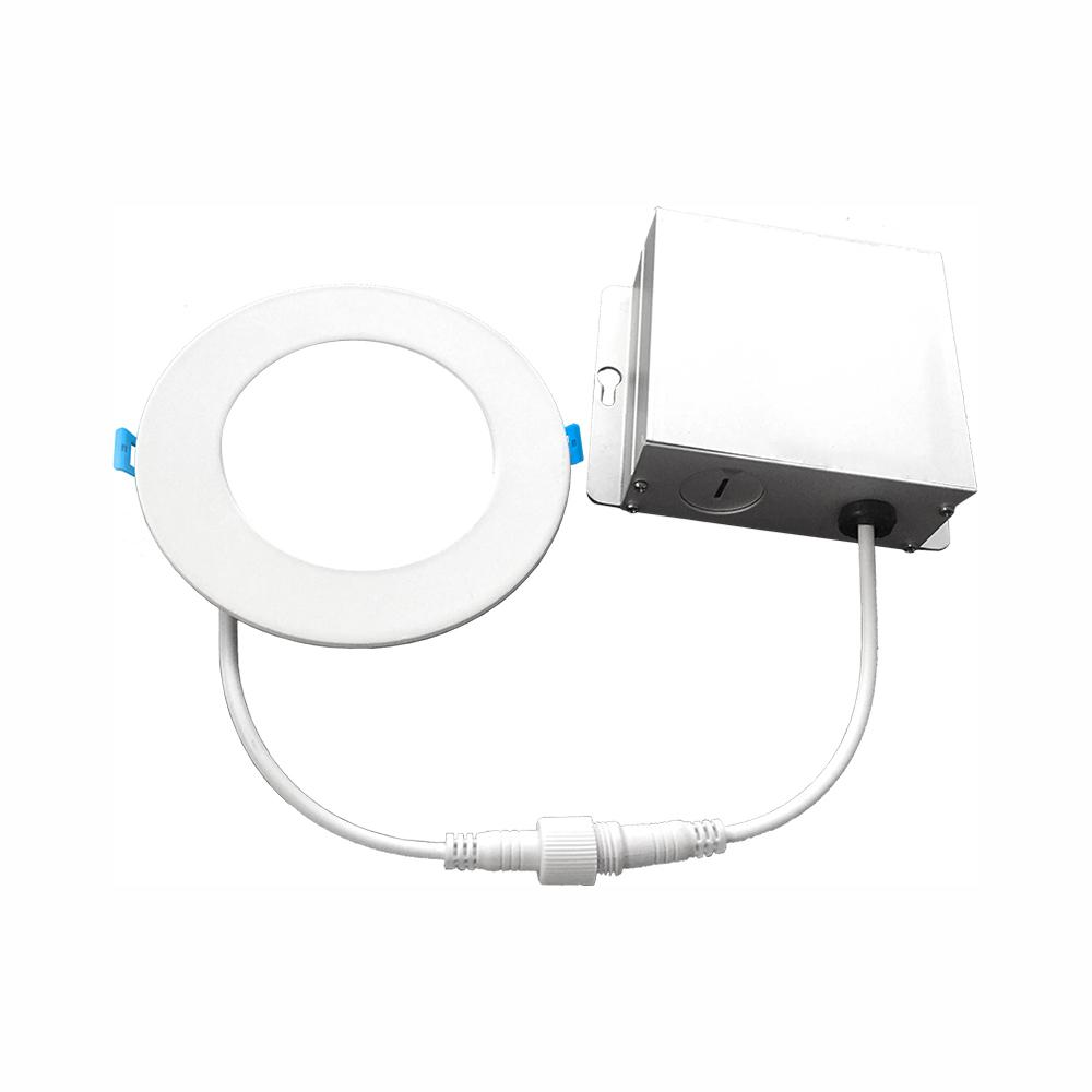 Euri Lighting 6 In 5000k New Construction Or Remodel Ic Rated Canless Integrated Led Recessed Kit For Shallow Ceiling Dlc6s 2050e The Home Depot