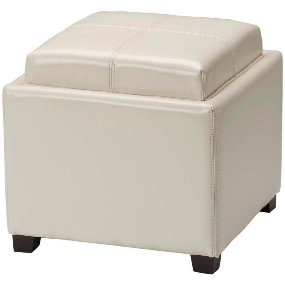 Harrison Flat Cream Storage Ottoman