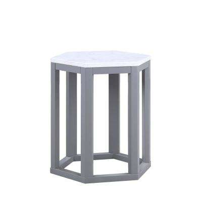 Reon 2-Piece Marble and Gray Pack End Table