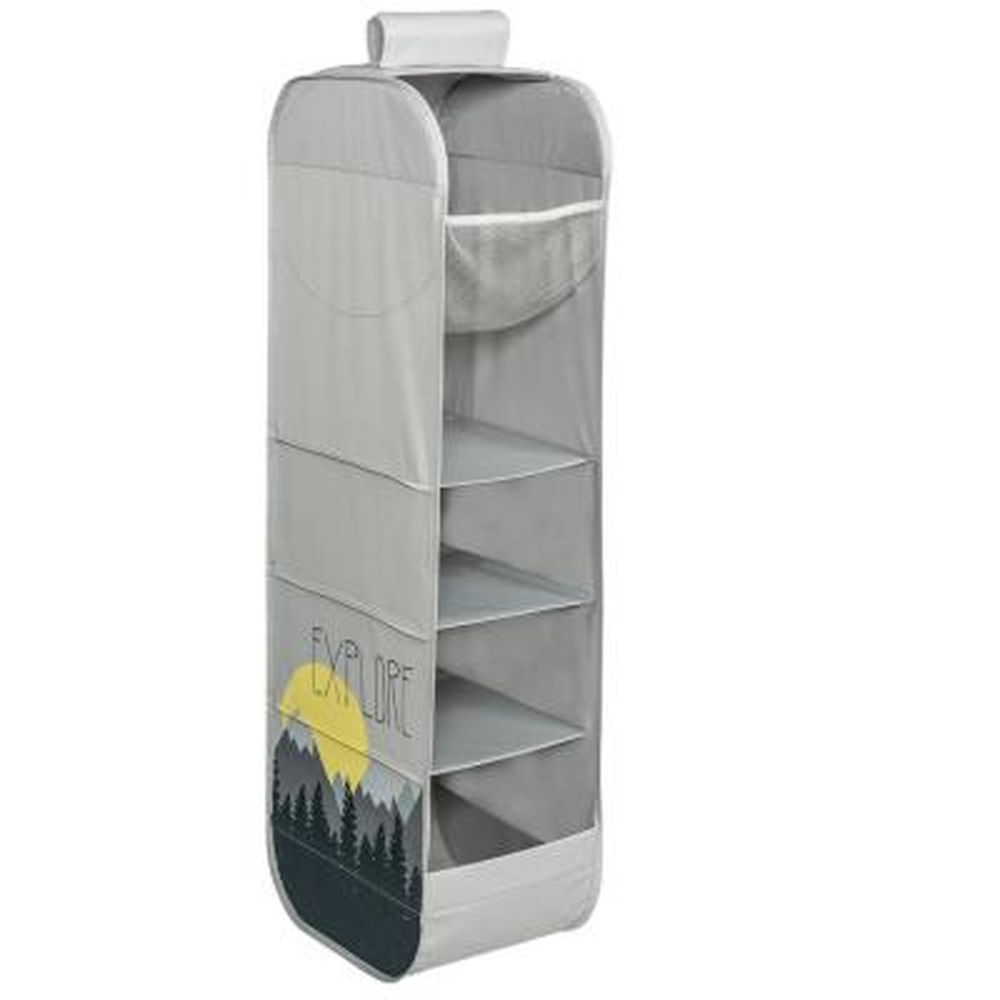41 in. H x 14 in. W x 10 in. D Grey Fabric 5-Cube Storage Organizer