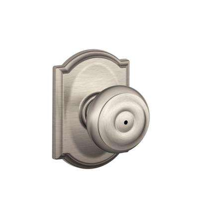 Georgian Satin Nickel Privacy Bed/Bath Door Knob with Camelot Trim