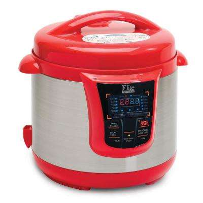 8Qt. Electric Pressure Cooker with 13 functions in Red