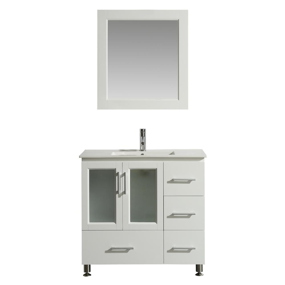 Design Element Stanton 36 In W X 18 In D Bath Vanity In White With Porcelain Vanity Top In White With White Basin And Mirror B36 Ds W The Home Depot