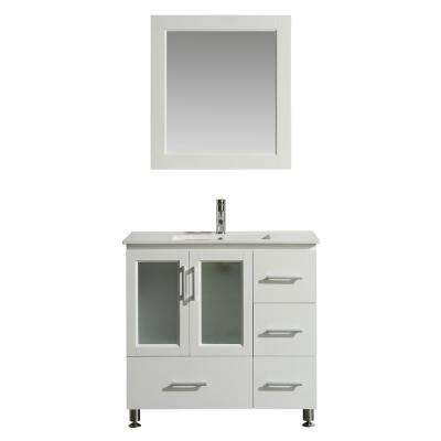 Stanton 36 in. W x 18 in. D Bath Vanity in White with Porcelain Vanity Top in White with White Basin and Mirror