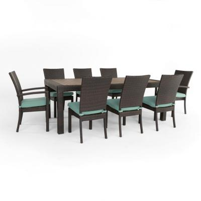 Deco 9-Piece Patio Dining Set with Spa Blue Cushions