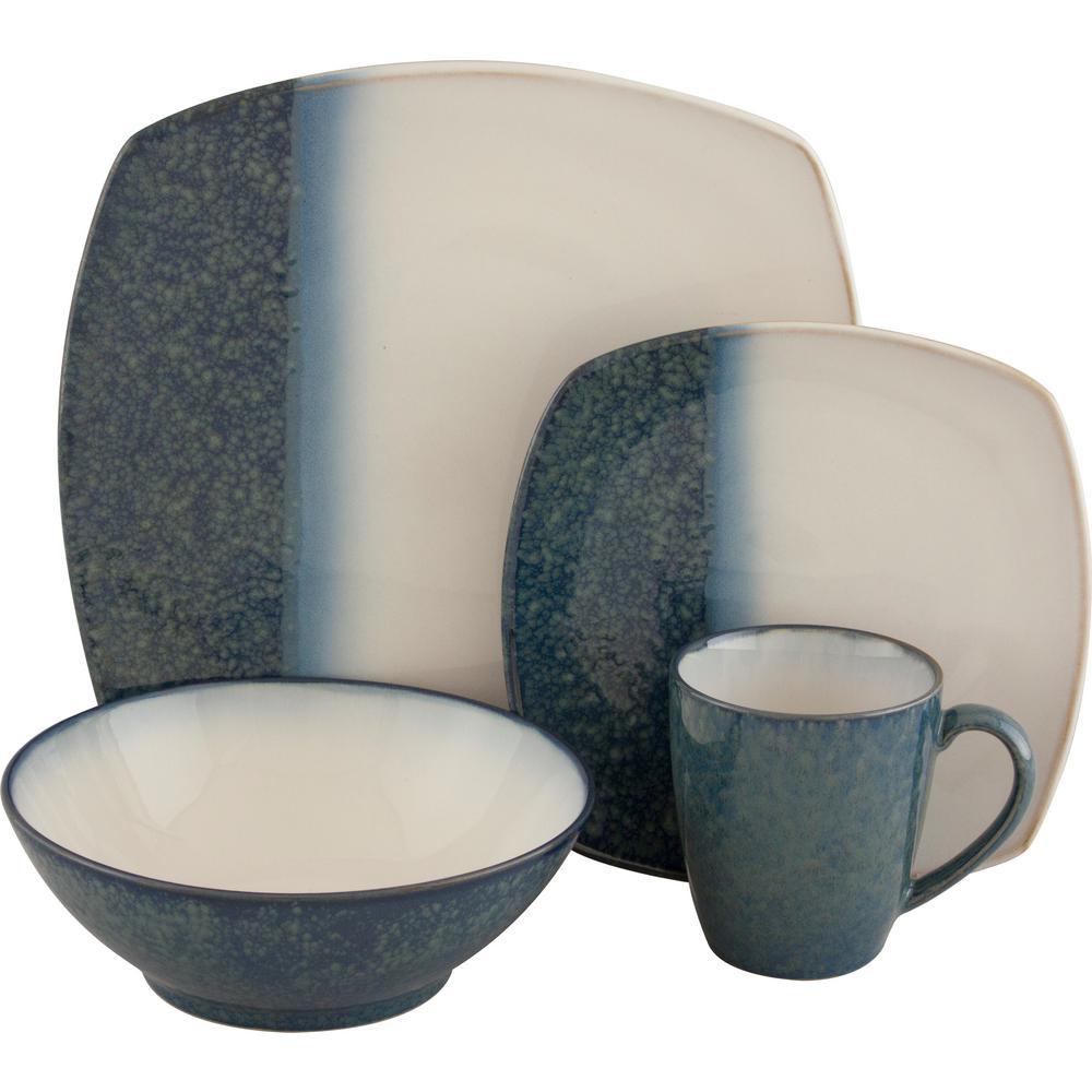 16-Piece Metallics Blue Dinnerware Set