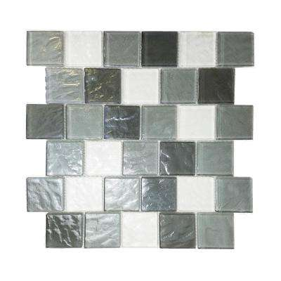 Geo Whistler Gray Mix 11.88 in. x 12.15 in. x 7.87 mm Glass Mosaic Tile
