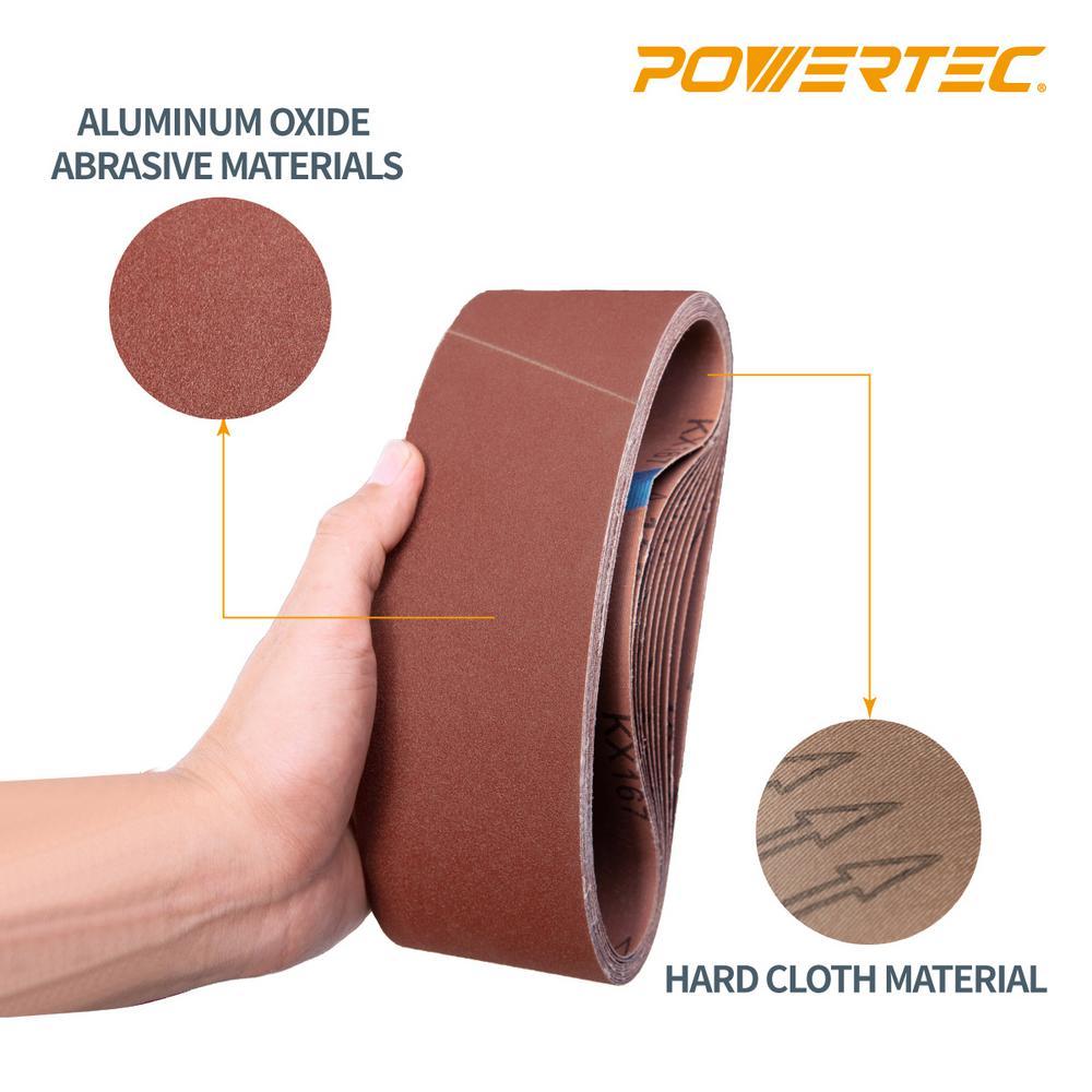40 Grit Aluminum Oxide Sanding Belt 10 Pack Premium Sandpaper For Portable Belt Sander POWERTEC 110160 6 x 48 Sanding Belts