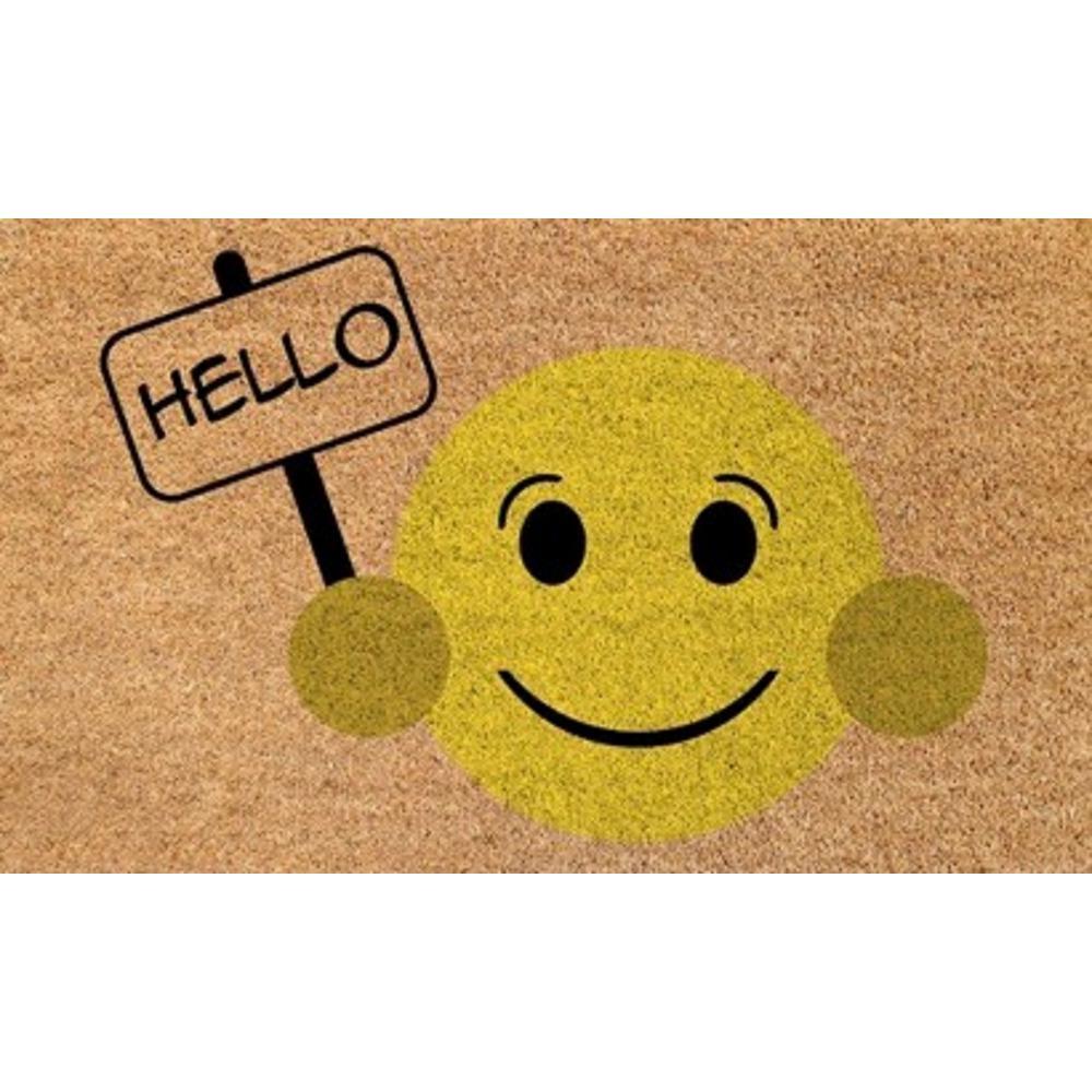 Dynamic Rugs Aspen Hello Smiley Face 18 In X 30 In Door