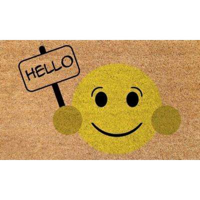 Aspen Hello Smiley Face 18 in. x 30 in. Door Mat