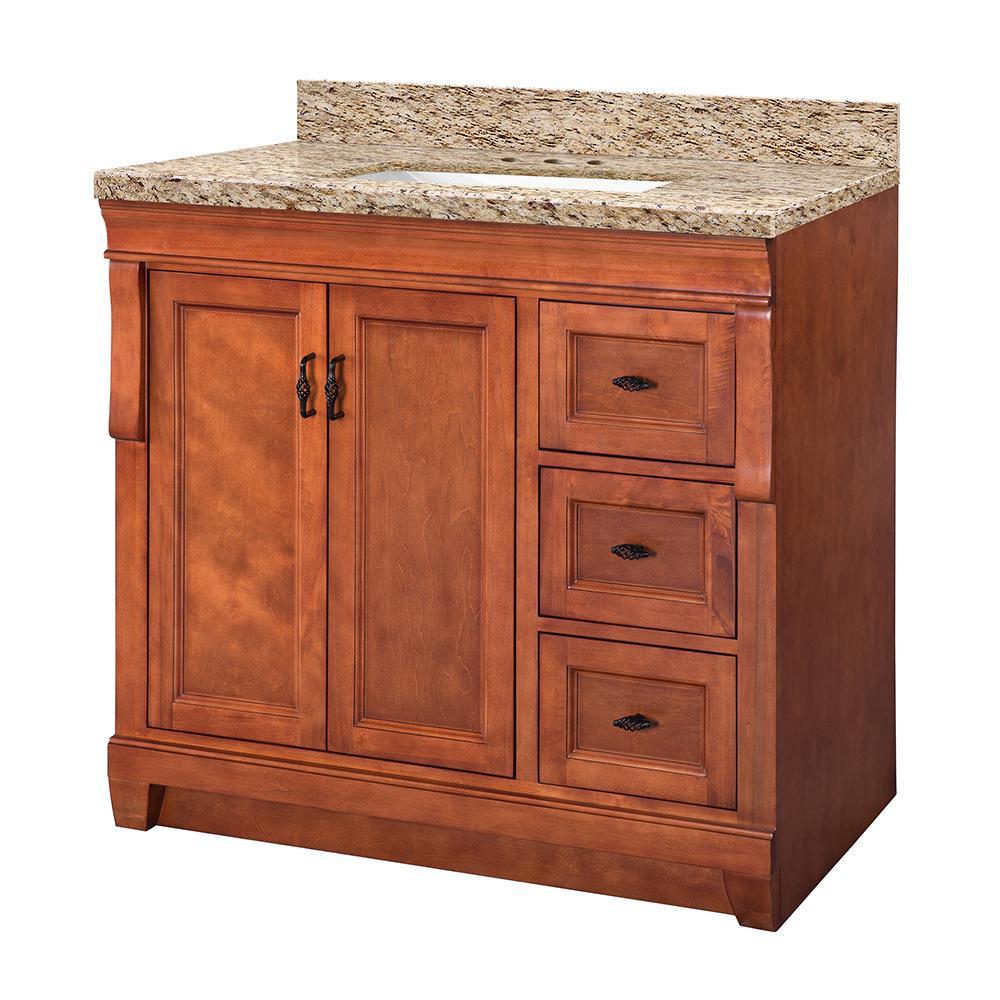 Naples 37 in. W x 22 in. D Vanity in Warm Cinnamon with Granite Vanity Top in Giallo Ornamental with White Sink