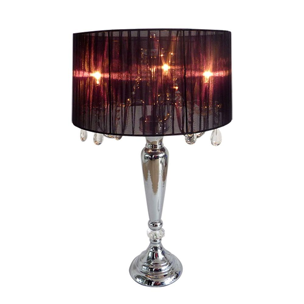 Elegant Designs Crystal Palace 27 In. Trendy Romantic Black Sheer Shade  Chrome Table Lamp With