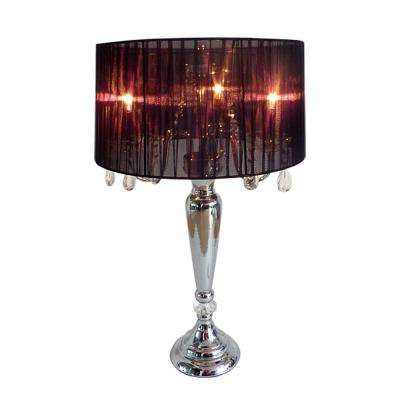Crystal Palace 27 in. Trendy Romantic Black Sheer Shade Chrome Table Lamp with Hanging Crystals