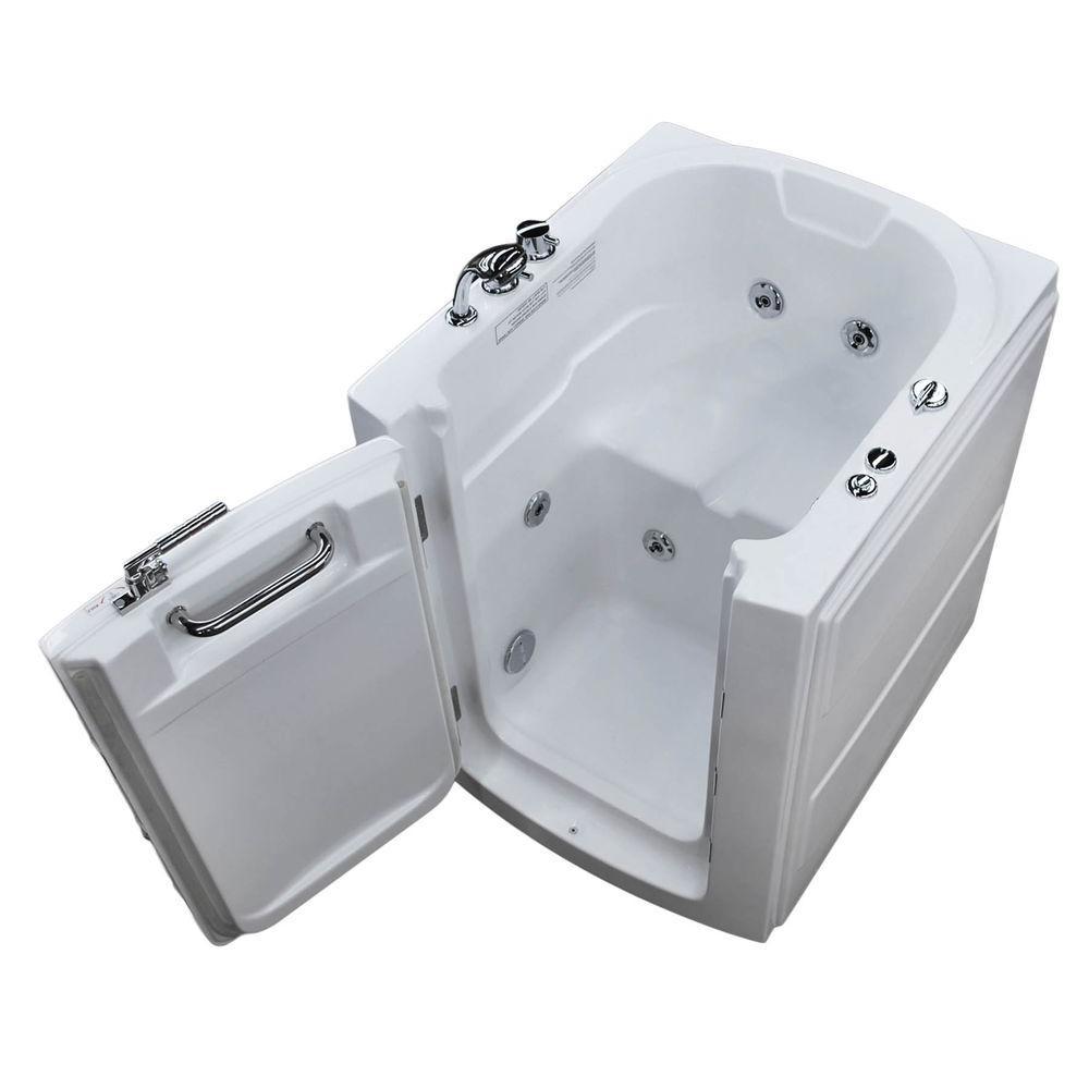 3.2 ft. Left Door Walk-In Whirlpool Bathtub in White