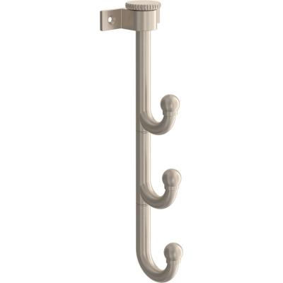 10 in. Satin Nickel Triple Prong Swivel Hook