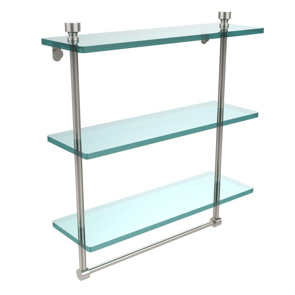 Allied Brass Foxtrot 16 in. L  x 18 in. H  x 5 in. W 3-Tier Clear Glass Bathroom Shelf with Towel Bar in Polished Nickel