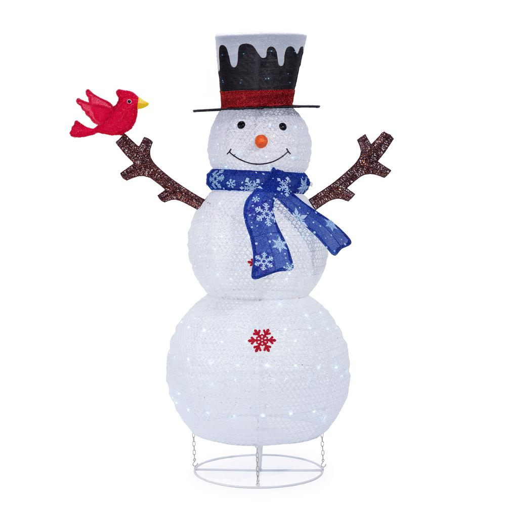 60 in. Christmas Cool White LED Collapsible Snowman