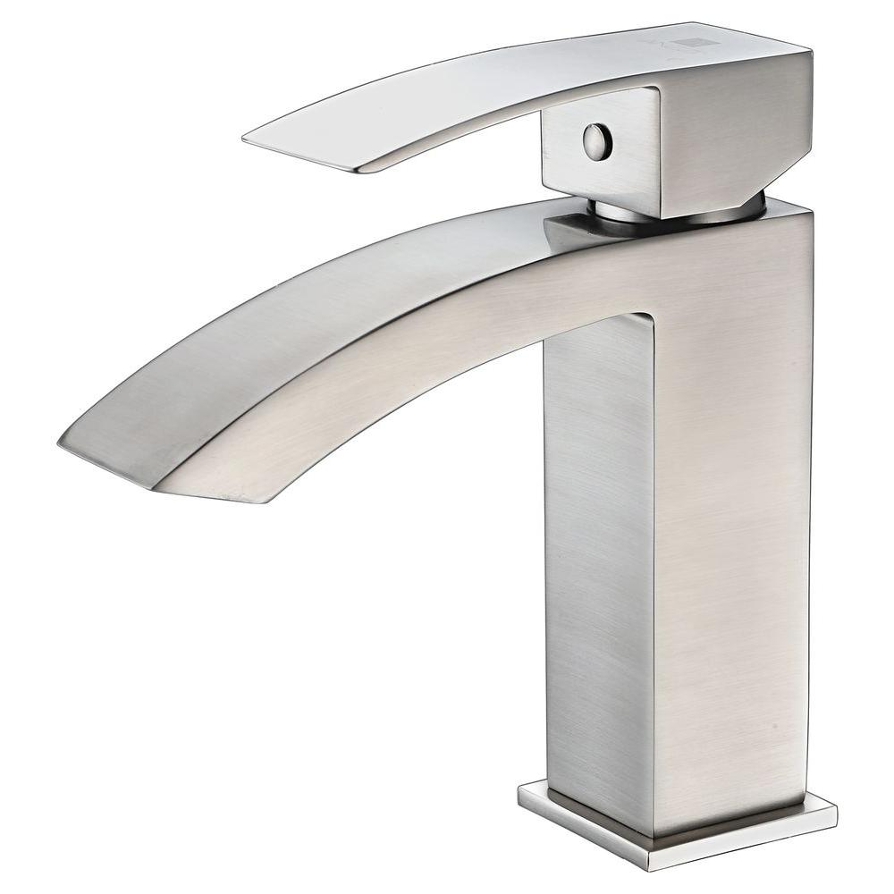 KRAUS Ino Single Hole Single-Handle High-Arc Vessel Bathroom Faucet ...