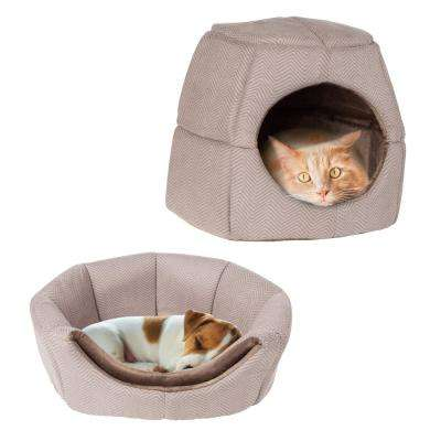 Small Brown 2-in-1 Convertible Pet Bed with Enclosed Cave