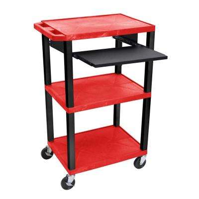 WTPS 42 in. A/V Cart With Pullout Shelf W/ Electric - Red Shelves With Black Legs
