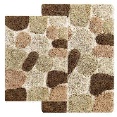 Pebbles 24 in. x 40 in. 2-Piece Bath Rug Set in Khaki
