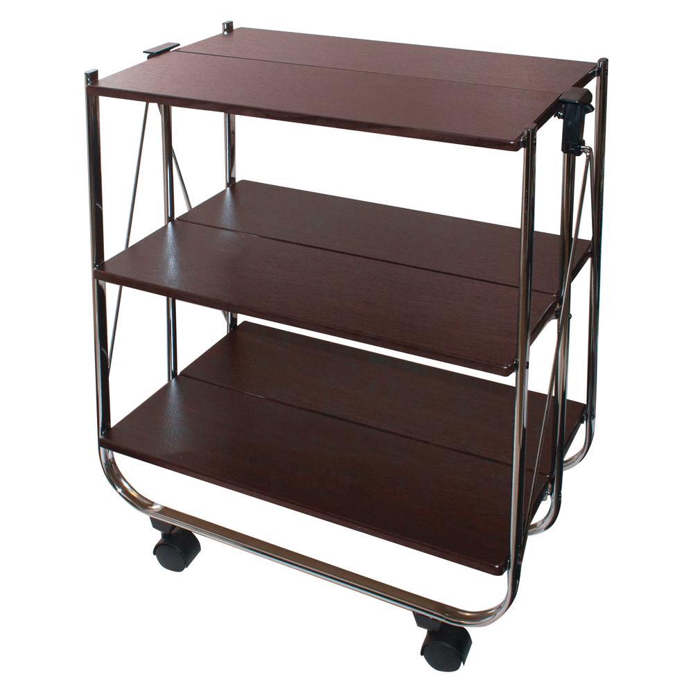 Chrome Click-N-Fold Utility Cart in Chrome and Wood