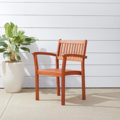 Malibu Stacking Wood Outdoor Dining Chair (2-Pack)