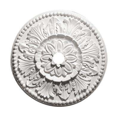 24 in. Grecian Leaves White Primed Polyurethane Ceiling Medallion