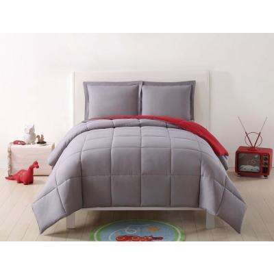 Anytime Solid Grey and Red Reversible Full/Queen Comforter Set (3-Piece)