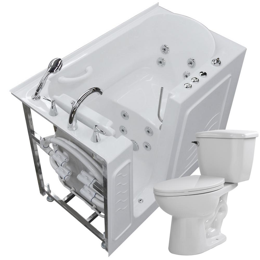Universal Tubs 52.75 in. Walk-In Whirlpool Bathtub in White with ...