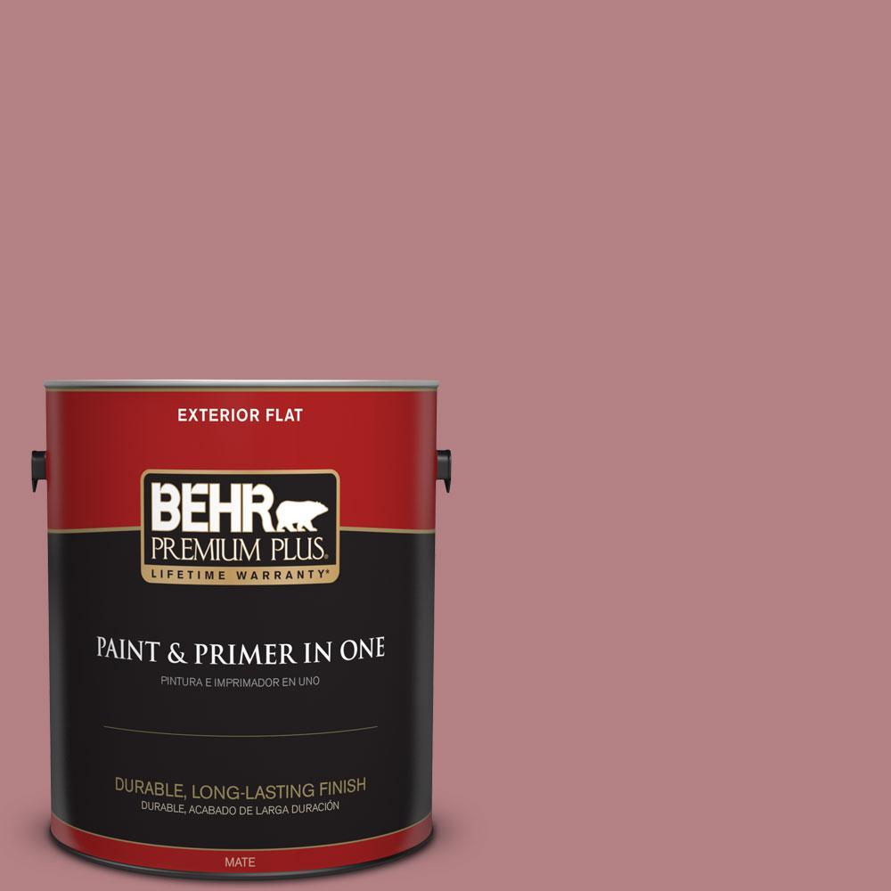 BEHR Premium Plus 1-gal. #T14-15 Minuet Rose Flat Exterior Paint