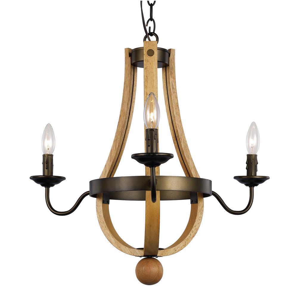 Woodland 3-Light Weathered Bronze Chandelier