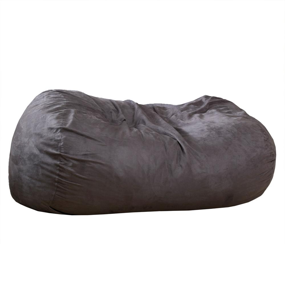 Le House Asher Charcoal Microfiber Synthetic Suede Lounger Bean Bag