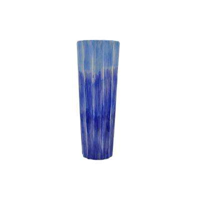 Decorative Blue Ceramic Vase with Glossy