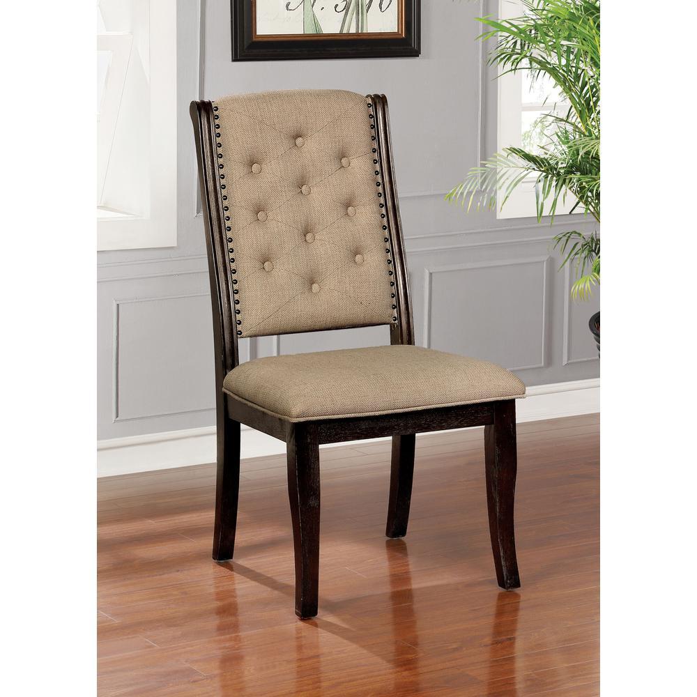Glendon Dark Walnut Upholstered Side Chairs (Set of 2)