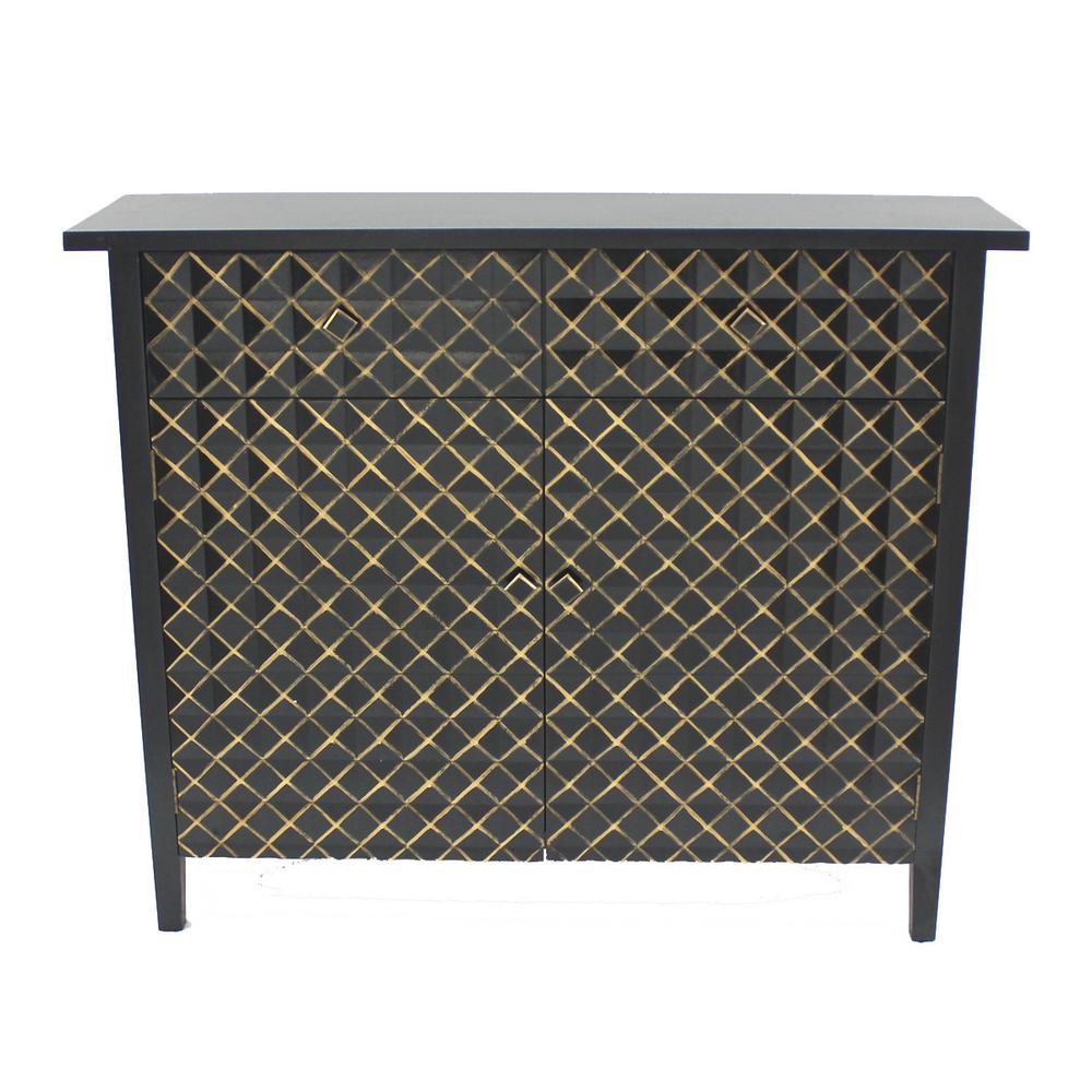 Black Wood 2-Door Storage Cabinet AF-002